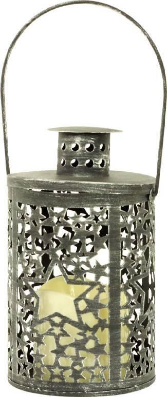 Lucerna kovová, s LED svíčkou, barva antracitová antik LUC057ANT Art