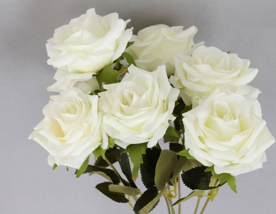 Růže puget, umělá květina, barva bílá KUM3232 Art