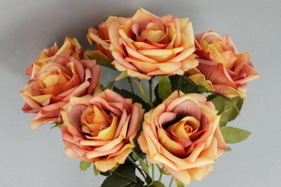 Růže puget, umělá květina, barva oranžová KUM3234 Art
