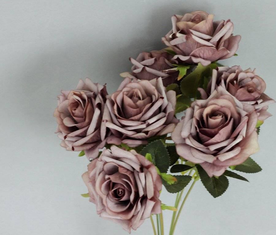 Růže puget, umělá květina, barva fialová KUM3235 Art