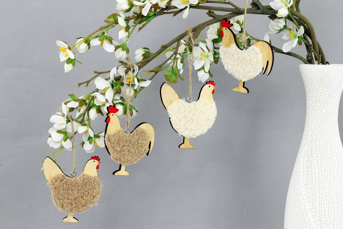 Slepička a kohoutek v sáčku, dekorace ze dřeva a plyše na zavěšení, cena za 1 sáček VEL810252 Art