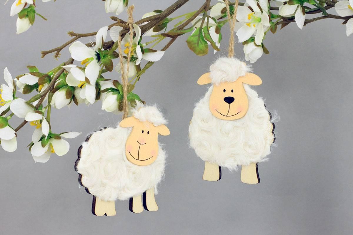 Ovečka 2 kusy v sáčku, dekorace ze dřeva a plyše na zavěšení, cena za 1 sáček, barva přírodní VEL810276 Art