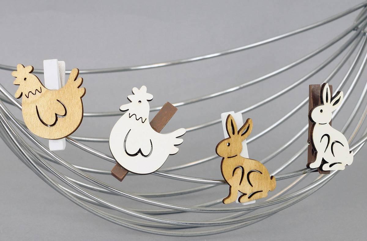 Králíčci nebo slepičky v sáčku 6 kusů, dřevěná dekorace na kolíčku, cena za 1 sáček VEL810313 Art