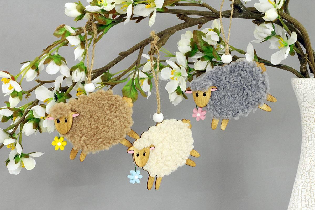 Ovečka 2 kusy v sáčku, dekorace ze dřeva a plyše na zavěšení, cena za 1 sáček VEL810498 Art