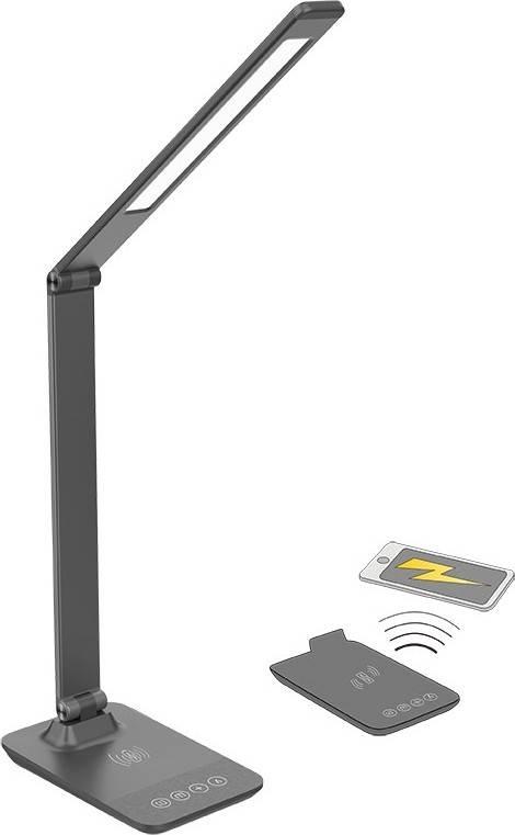 LED stmívatelná lampička s bezdrátovým nabíjením, změna chromatičnosti, šedá WO55-G Solight