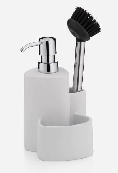 Sada PURANA na mytí nádobí, keramika, bílá 11x10x22cm - Kela