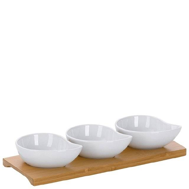 Servírovací misky PHILIPA 4ks, porcelán/bambus, 26x10x4,5cm - Kela