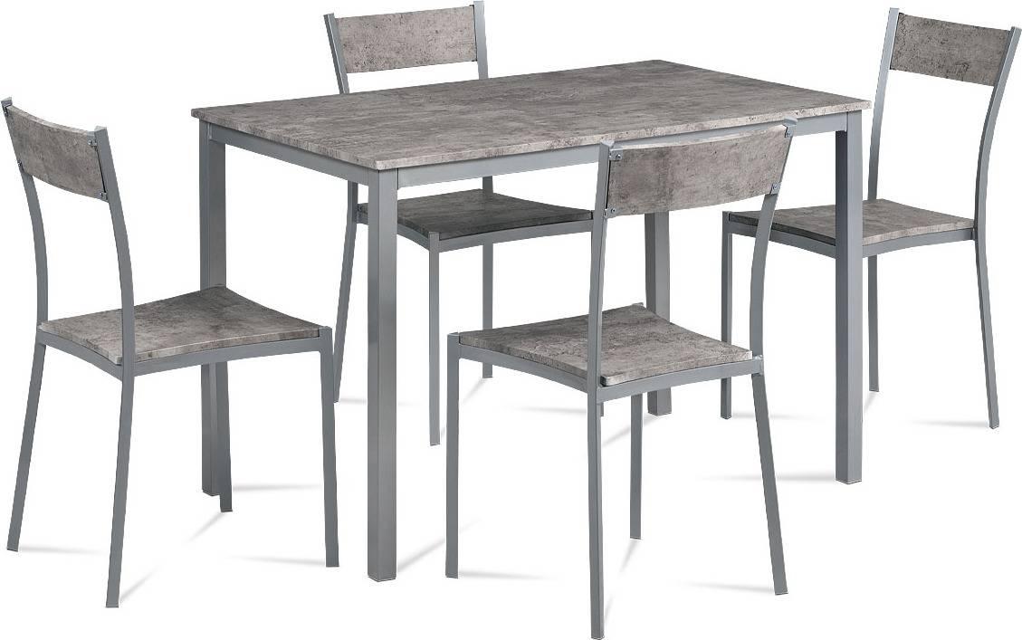 Jídelní set 1+4, šedý kov mat, MDF dekor beton JEREMY BET Art