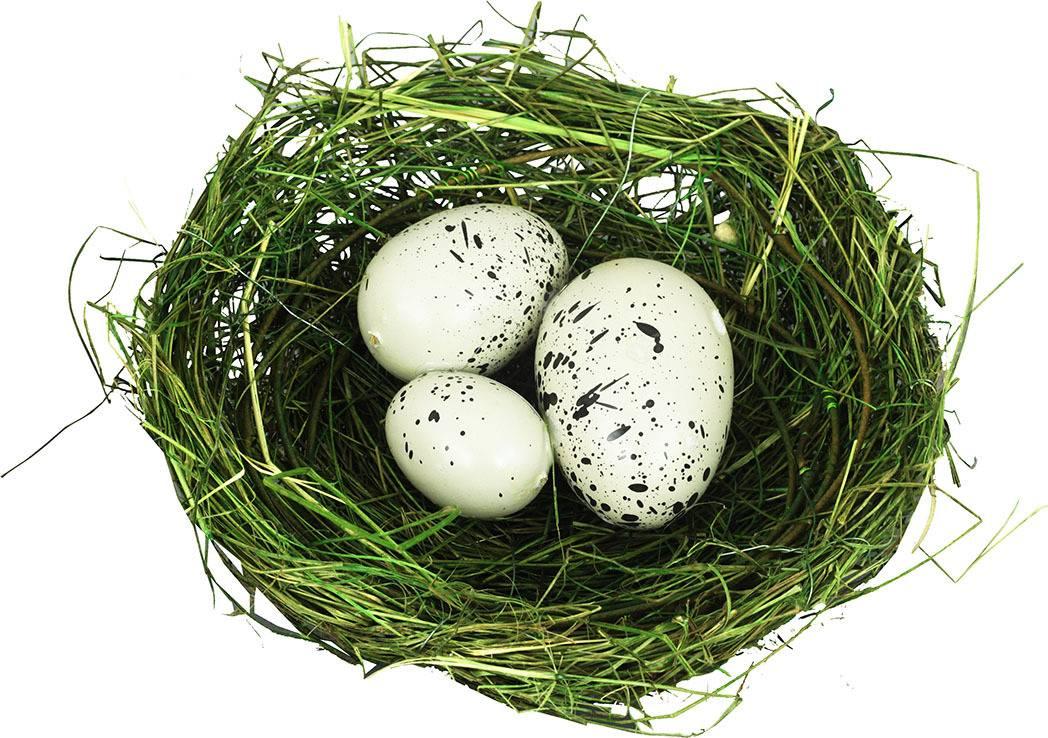 Hnízdo s vajíčky, dekorace z révového proutí s kovovem RP2767 Art