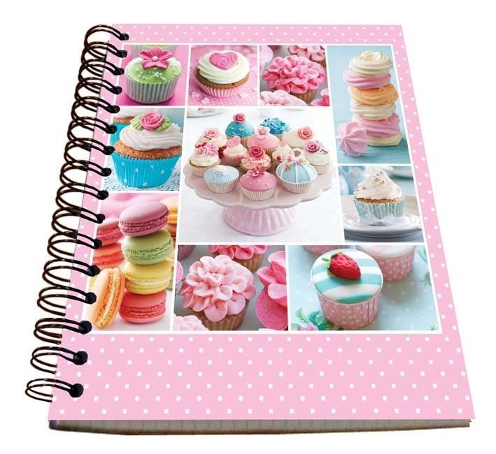 Spirálový blok A5 na zápis kuchařských receptů - Cupcakes - Alvarak