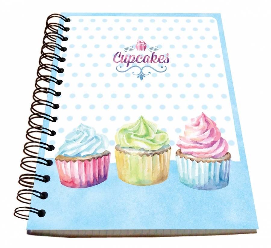 Spirálový blok A5 na zápis kuchařských receptů - čtverečkovaný cupcakes - Alvarak