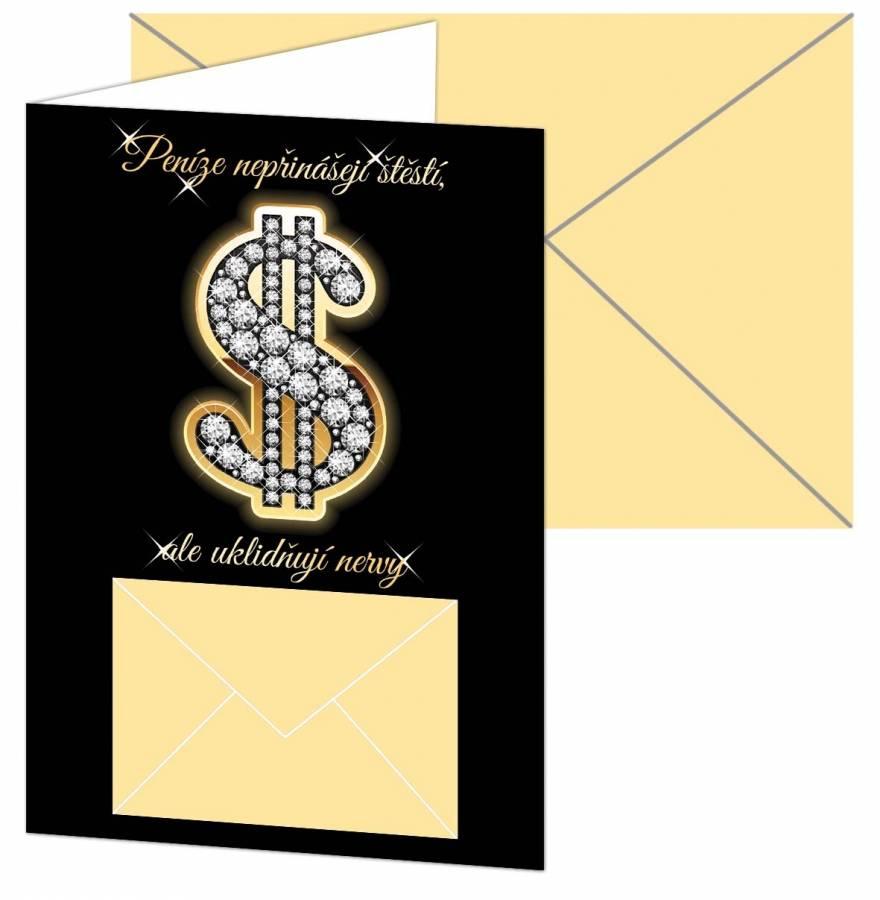 Blahopřání k svátku s kapsou na peníze dolar 12x17cm - Alvarak