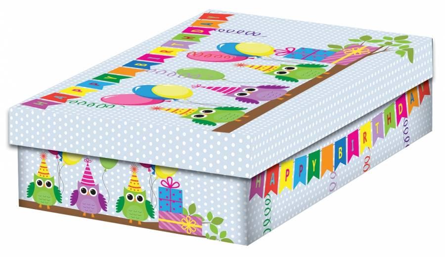 Fotografie Krabička na dárek k narozeninám sovy 32x21x9cm - Alvarak