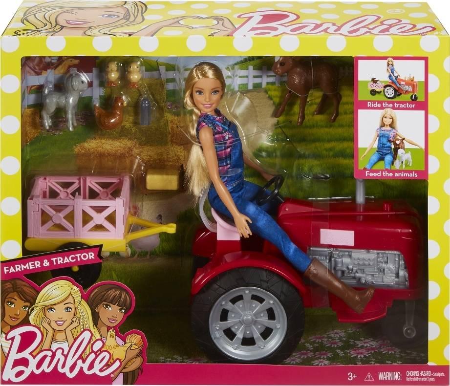 Fotografie MATTEL BRB Panenka Barbie farmářka set s traktorem a doplňky plast