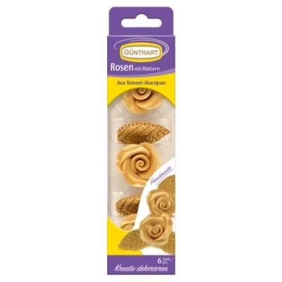 Marcipánová dekorace na dort růže a listy zlaté 6ks v balení - Gunthart