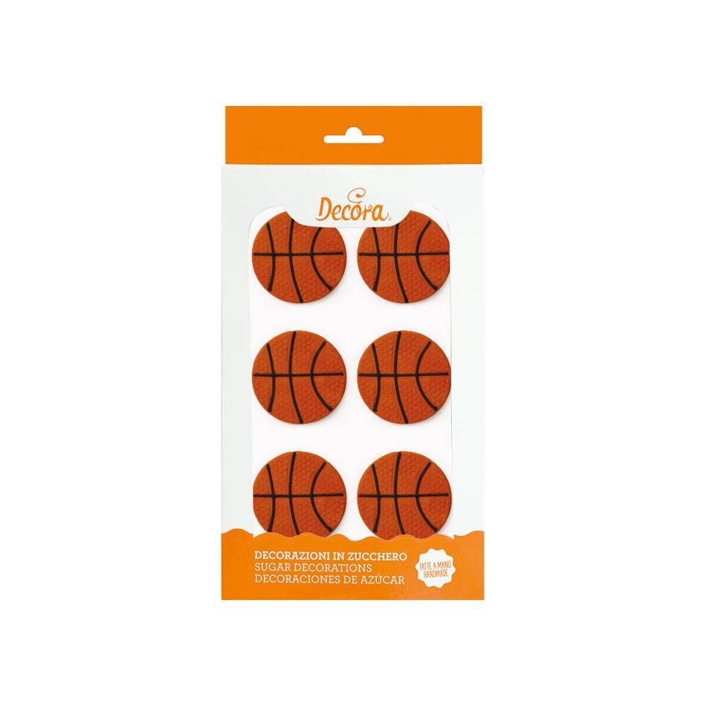 Cukrové zdobení na dort basketbalový míč 4,5cm 6ks - Decora