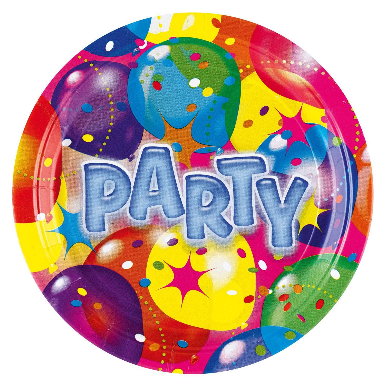 Fotografie Papírový tácek na párty barevný 22,8cm 8ks - Amscan