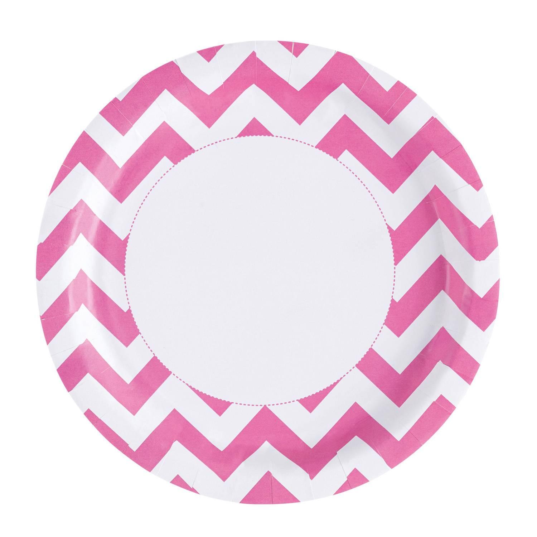 Fotografie Papírové talířky na párty 22,8cm 8ks zubaté růžové - Amscan
