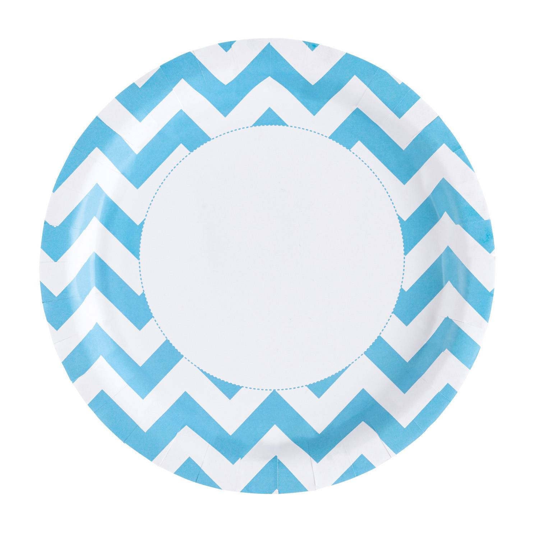 Fotografie Papírové talířky na párty 22,8cm 8ks zubaté modré - Amscan