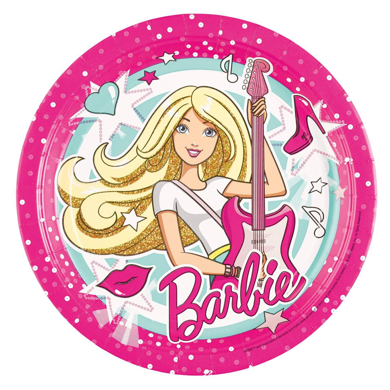 Fotografie Papírové talířky na párty 23cm 8ks Barbie Popstar - Amscan
