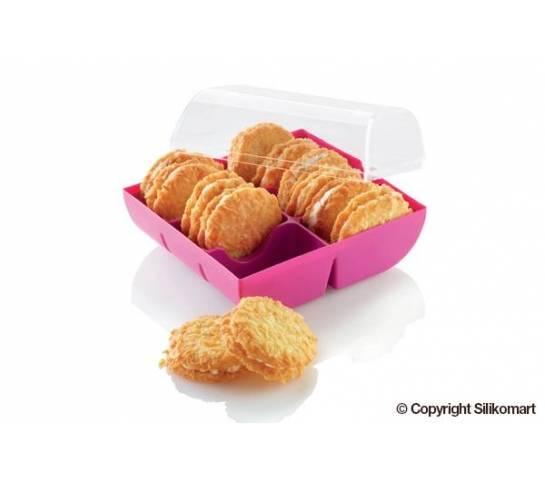 Plastová krabička na sušenky růžová - Silikomart