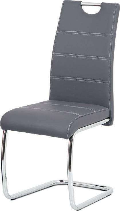 Jídelní židle, šedá ekokůže, bílé prošití, kov chrom HC-481 GREY Art