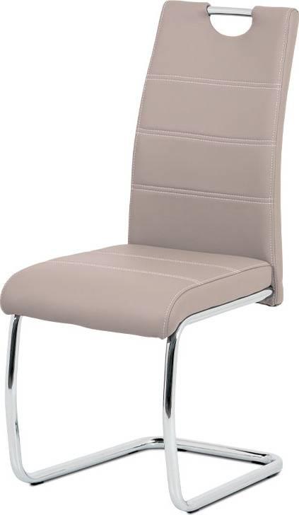 Jídelní židle, béžová ekokůže, bílé prošití, kov chrom HC-481 LAN Art