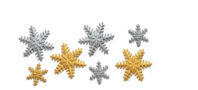 Cukrová dekorace sněhové vločky stříbrné a zlaté 9ks - Decora