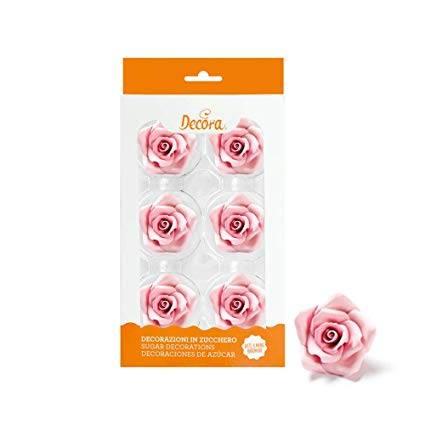 Cukrové růže velké růžové 6ks - Decora