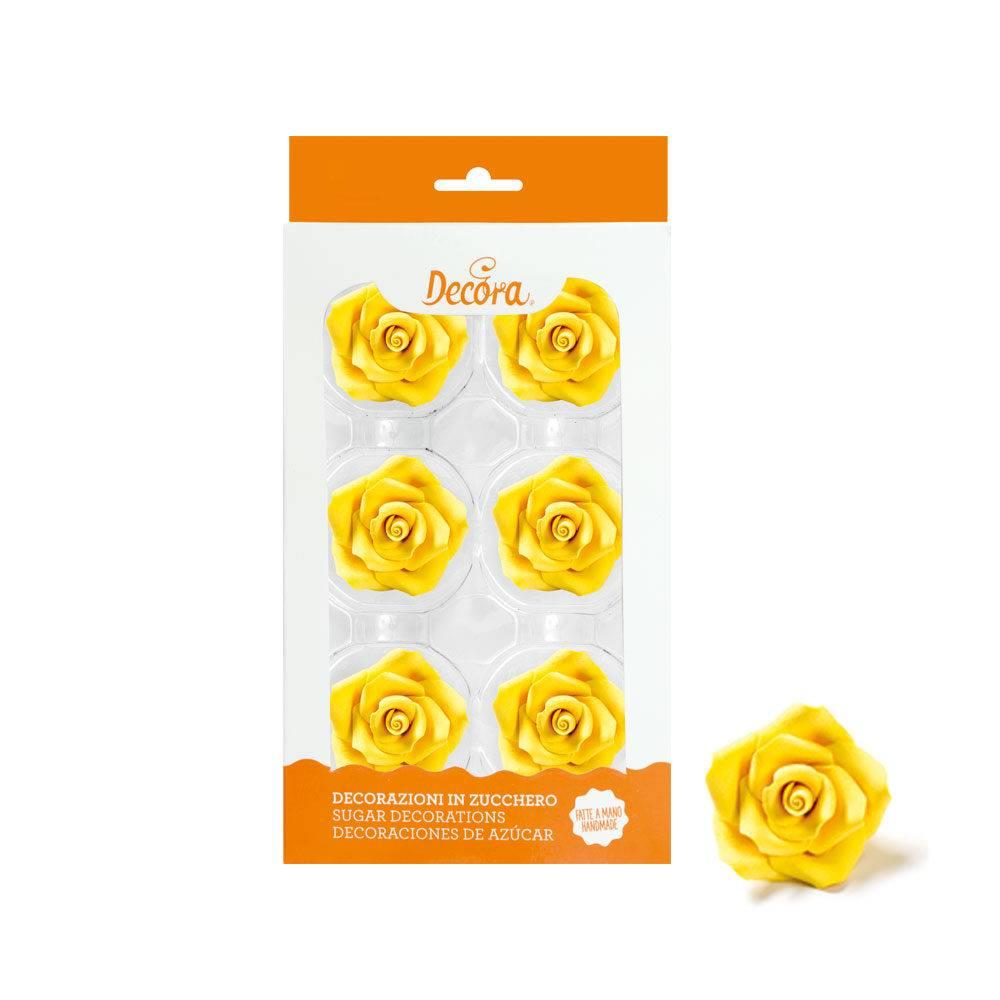 Cukrové růže velké žluté 6ks - Decora