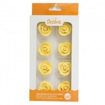 Cukrové růže střední 8ks žluté - Decora