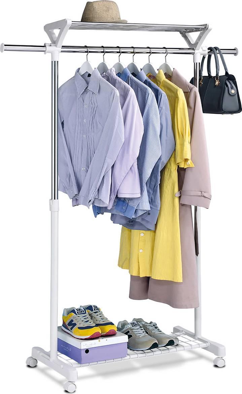 Stojan na šaty s regálem na boty, barva  bílá / chrom ABD-1218 WT Art