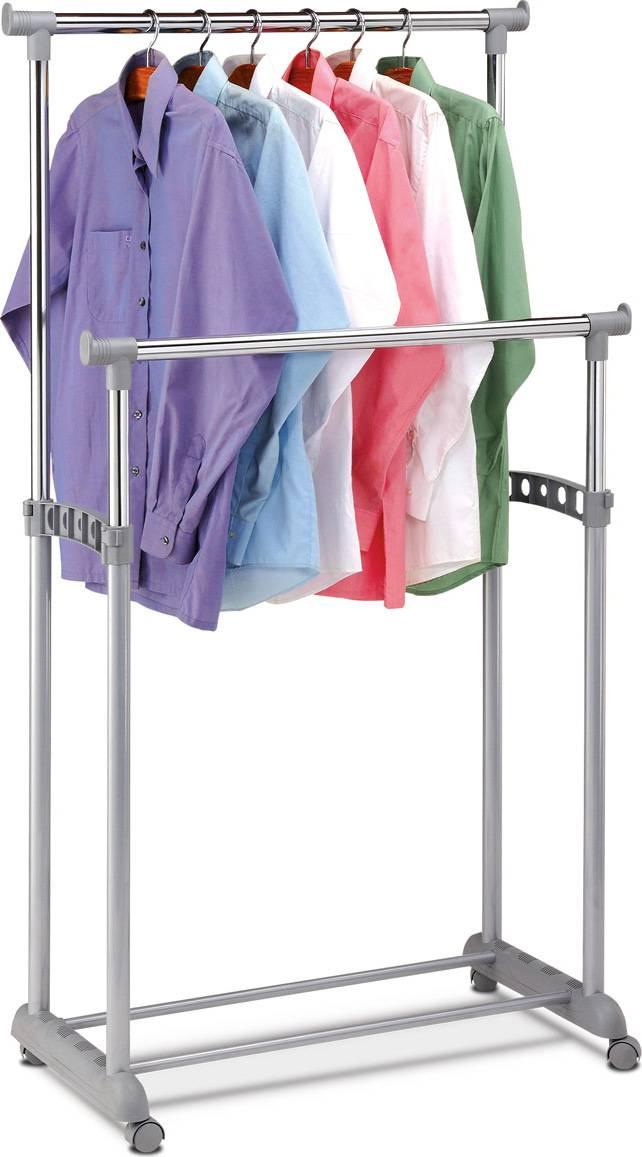 Stojan na šaty, šedá barva, kov / plast, chrom ABD-1233 GREY Art