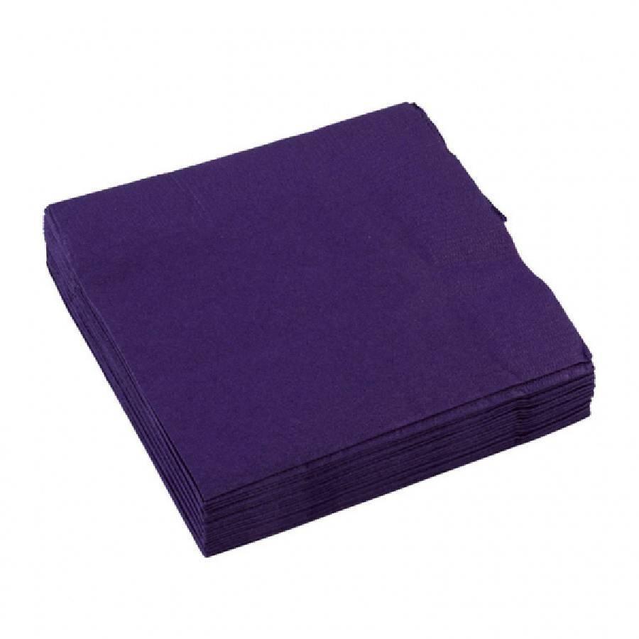 Ubrousky tmavě  fialové 20ks 25x25cm - Amscan