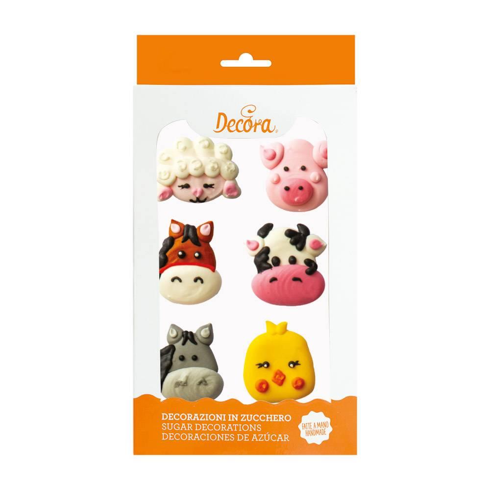 Cukrová dekorace na dort zvířátka z farmy 6ks - Decora
